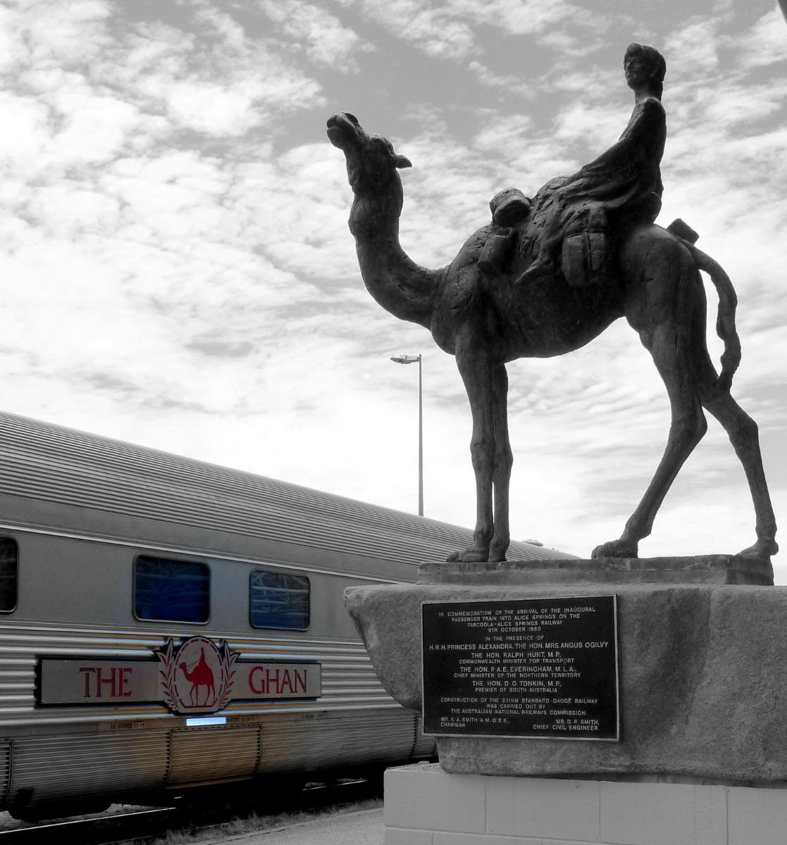 Alice Ghan Station Statue BW