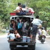 sagaing packed bus with monks