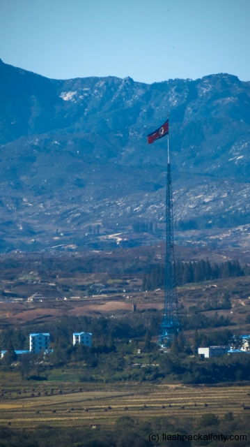 odusan-observation-point-north-korean-flag