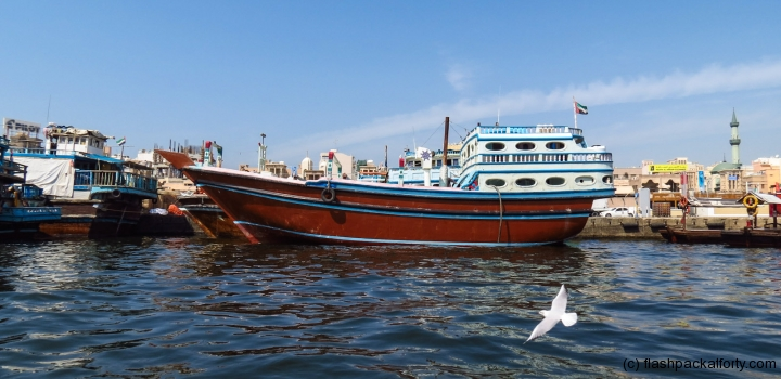freight-boat-dubai-creek-with-bird