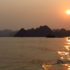 halong bay sunset reflection