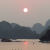 halong bay sunset globe