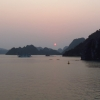 distant halong bay sunset