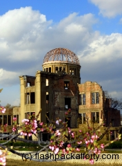 Hiroshima Peace Memorial with blossom