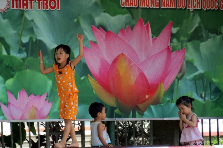 Children playing lotus flower