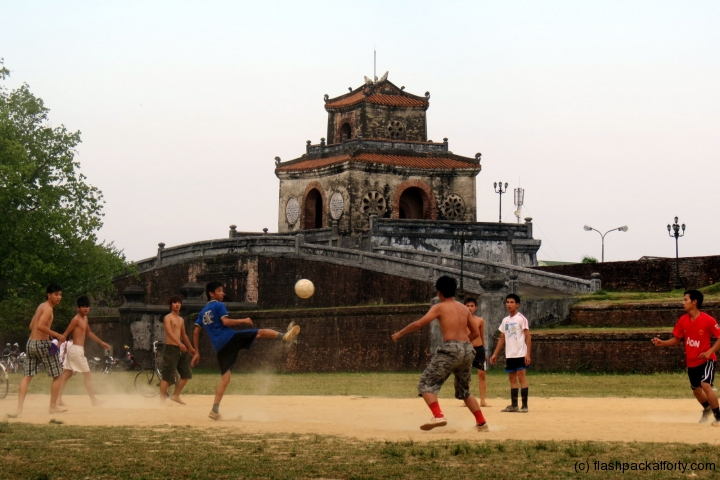 Vietnamese boys playing football