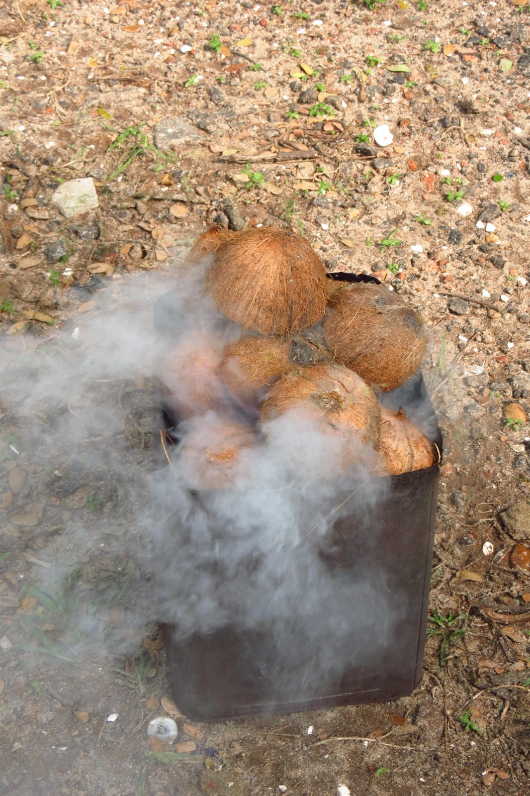 coconuts-burning-for-iron-at-laundry-fort-kochi