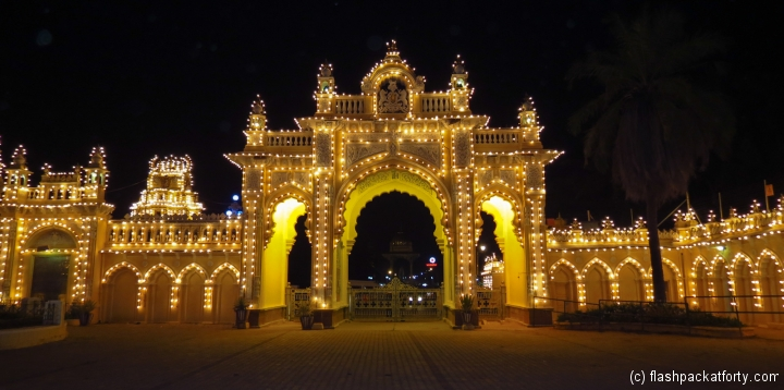 mysore-palace-gates-at-night-india