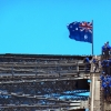 Sydney Harbour Bridge Walkers with Flag