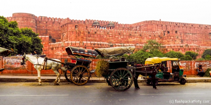 agra-fort-horse-and-auto-rickshaw