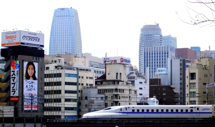Bullet train with Tokyo view