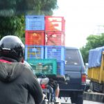 Crates on back of moped