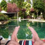 feet by hotel pool