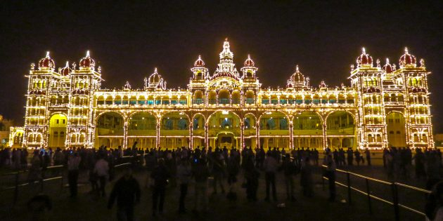Mysore Palace Lights Up Night Sky